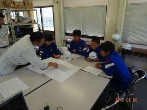 中嶋所長から図面で工事概要の説明を受けています。