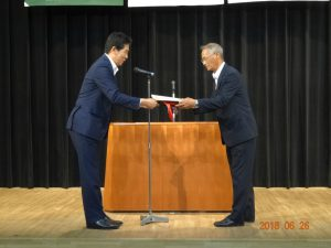 安全衛生優良表彰を受けられた  大谷工業株式会社 代表取締役 大谷弘行様