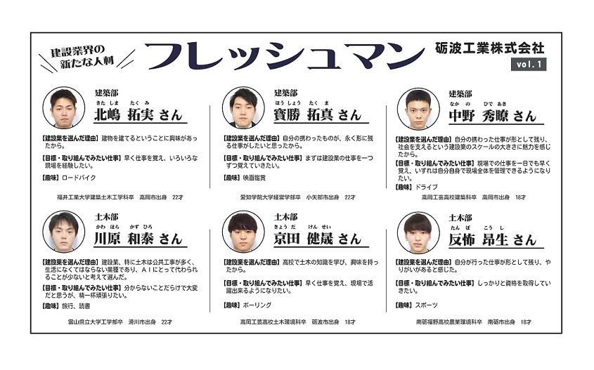 フレッシュマン特集 【砺波工業株式会社】vol.1